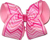 Pink and White Chevron over Pink MEGA Extra Large Double Layer Bow