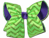 Green and Green Glitter over Purple Large Double Layer Bow
