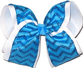 Blue Glitter Chevron over White MEGA Extra Large Double Layer Bow