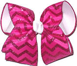 Shocking Pink and Shocking Pink Glitter over White Large Double Layer Bow