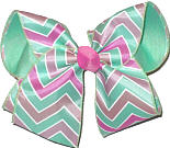 Aqua Pink White over Aqua Large Double Layer Bow