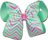 Pink and Mint Chevron over Mint MEGA Extra Large Double Layer Bow