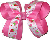 Strawberries on White over Hot Pink Large Double Layer Bow