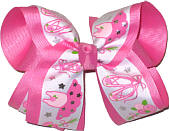 Large Ballet Print over Hot Pink Grosgrain Large Double Layer Bow