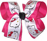 Hello Kitty over Shocking Pink Large Double Layer Bow
