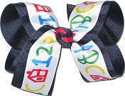 Navy and School Print Large Double Layer Bow