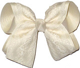 Ivory Lace over Ivory Grosgrain Large Double Layer Bow