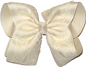 Ivory Lace Over Ivory Grosgrain MEGA Extra Large Double Layer Bow