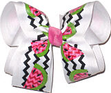 Watermelon Slices over White Large Double Layer Bow
