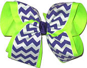 Regal Purple and White Chevron Over Neon Lime MEGA Extra Large Double Layer Bow