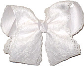 White Lace over White Grosgrain Large Double Layer Bow