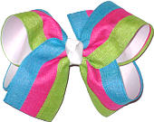 Blue Pink and Green over White Large Double Layer Bow