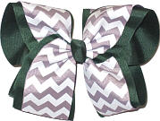 White and Millenium Gray Over Evergreen MEGA Extra Large Double Layer Bow