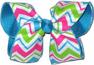 Hot Pink Apple Green Blue and White over Sapphire Large Double Layer Bow