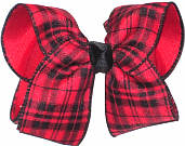 Red and Black over Red Large Double Layer Bow