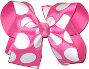 Hot Pink with wite Dots over Hot Pink Large Double Layer Bow