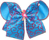 Mystic Blue with Glitter Swirl and Flamingo Miniature Large Double Layer Bow