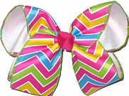 Shocking Pink Green Blue White over White Large Double Layer Bow