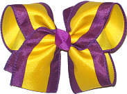 Purple and Yellow Gold Stripes Large Double Layer Bow