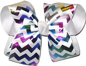 White and Multicolor Metallic Large Double Layer Bow