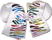 White and Multicolor Metallic MEGA Extra Large Double Layer Bow