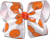 Large Basketball on White over White Large Double Layer Bow