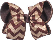 Large Turftan and Oatmeal Canvas over Brown School Bow