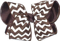 Large Brown and White Canvas over Brown School Bow