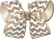 Oatmeal and White Canvas over Oatmeal Large Double Layer Bow