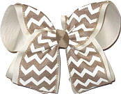 MEGA Khaki and White Canvas over Oatmeal School Bow