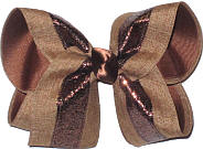Brown Glitter and Dark Khaki Canvas over Turftan Large Double Layer Bow