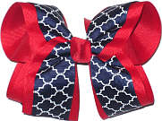 Red Navy and White Large Double Layer Bow