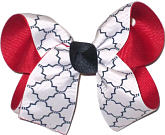 Medium Red White and Navy School Bow