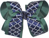 Evergreen Navy and White Large Double Layer Bow