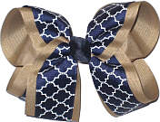 Khaki Navy and White Large Double Layer Bow