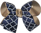 Medium Khaki Navy and White School Bow