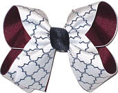 Medium Burgundy White and Navy School Bow