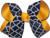 Medium Yellow Gold Navy and White School Bow