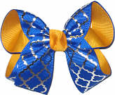 Medium Yellow Gold Electric Blue and Silver School Bow