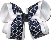 White and Navy Large Double Layer Bow