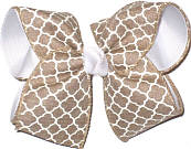Khaki and White Canvas over White Large Double Layer Bow