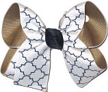 Medium Khaki White and Navy School Bow