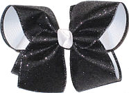 Black Sparkle Glitter over White Grosgrain Large Double Layer Bow