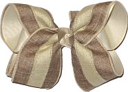 Khaki and Oatmeal Stripe Canvas over Oatmeal Large Double Layer Bow