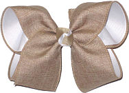 Oatmeal Canvas over White Grograin Large Double Layer Bow