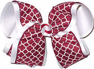 Cranberry and White MEGA Extra Large Double Layer Bow