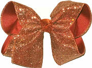Copper Heavy Glitter over Rust Grosgrain Large Double Layer Bow