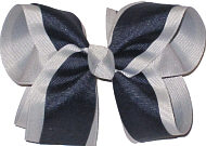 Gray and Navy Large Double Layer Bow