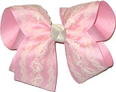 Ivory Lace over Light Pink Grosgrain Large Double Layer Bow