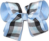 Black and Blue over Light Blue Large Double Layer Bow